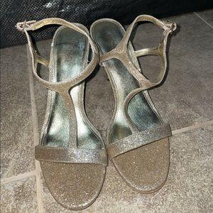 NWOT Michael Kors Gold Glitter Heels Size 8